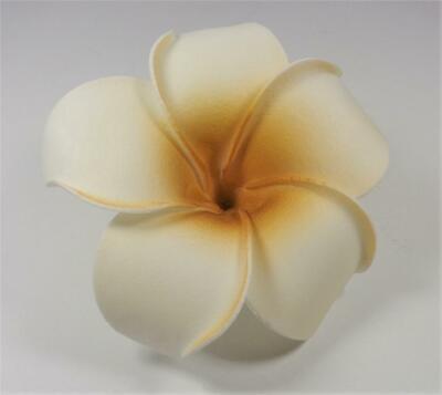 HAWAIIAN WEDDING ALOHA FLOWER WHITE AND COPPER PLUMERIA LUAU HAIR CLIP ()