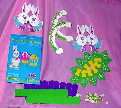 RARE!  UNUSED VTG 1950S PKG DENNISON EASTER BUNNIES FLOWERS EGG DECORATIONS