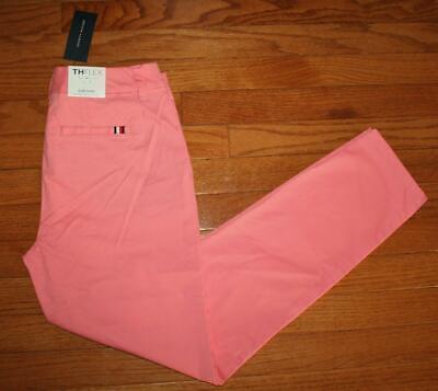 NEW NWT Womens Tommy Hilfiger Stretch Slim Chino THFLEX Coral Pink Pants $59 *4A