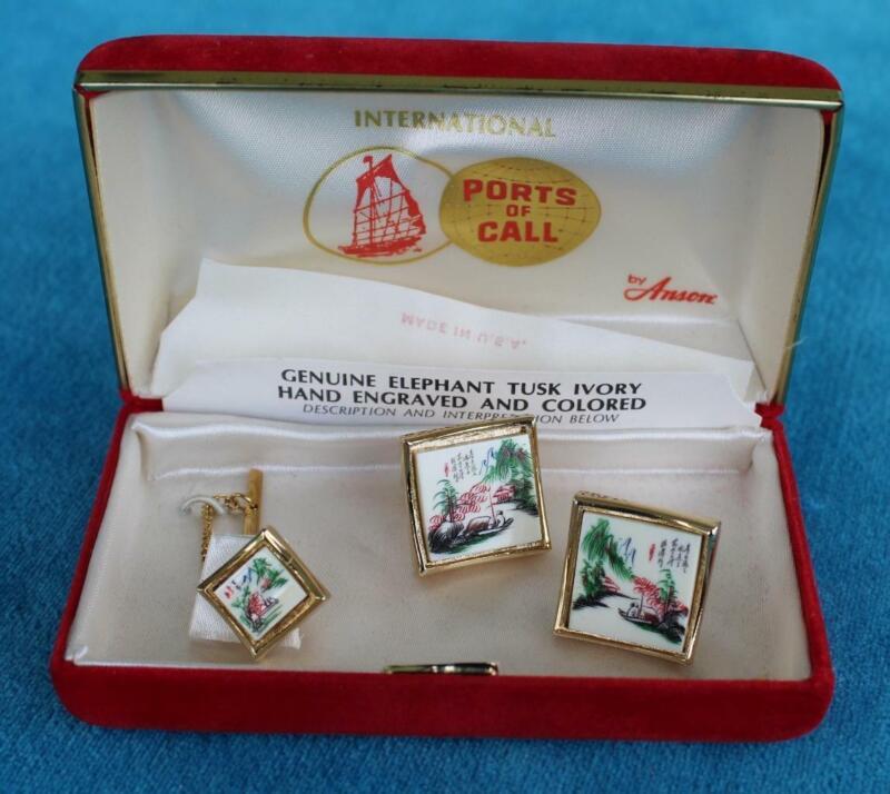 Rare & Vintage - ANSON - Ports of Call - Elephant Tusk Cuff Link Set - China
