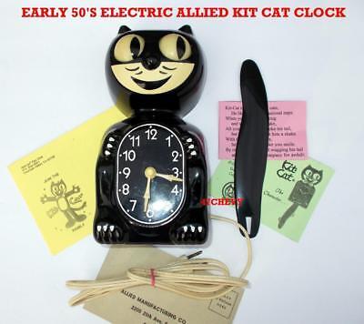 EARLY 50s-ALLIED-BLACK-KIT CAT KLOCK-KAT CLOCK-ELECTRIC-VINTAGE-ORIGINAL-WORKS