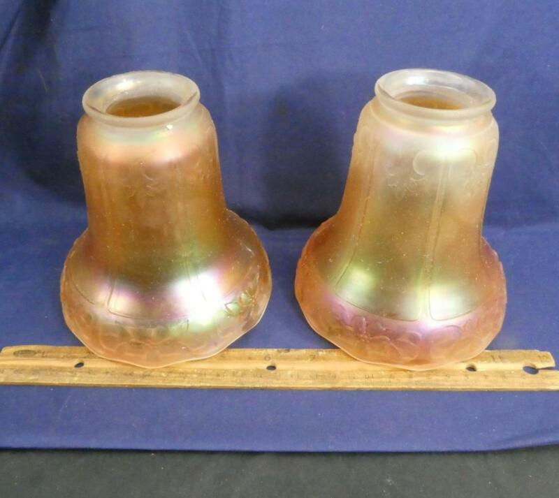Pair Of 2 Antique Marigold Iridescent Carnival Glass Fitter Lamp Shades Floral !