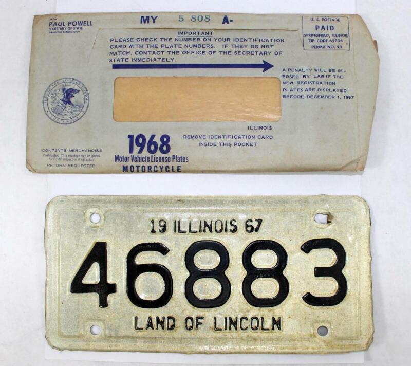 Rare 1967 Illinois Motorcycle License Plate w/ Envelope ~ 46883