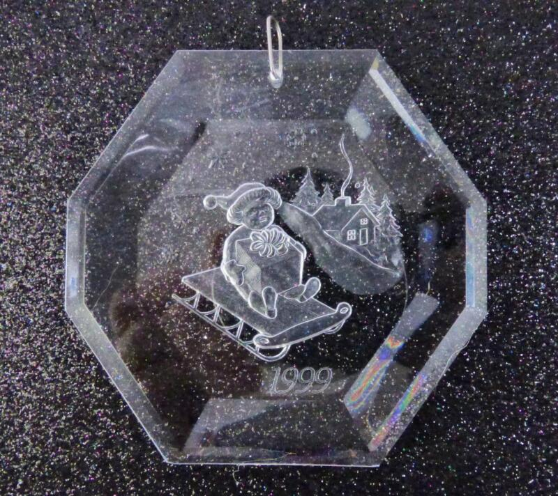 Vintage 1999 Acrylic Christmas Sleigh Riding Etched Ornament