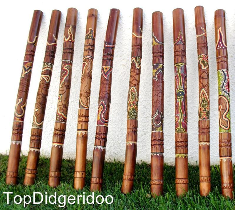 WITH ESTHETIC FAULTS - Dot Painted&Carved Aboriginal Didgeridoo Great Sound