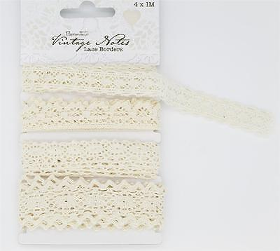 Papermania Lace Borders 4 x 1m Vintage Notes Pack contains 4 individual designs