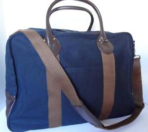 J CREW Navy Blue Brown Weekend Travel Duffle Carry-on Bag Luggage 20