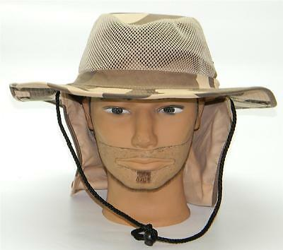 Men Summer Safari Outback Mesh Summer Hat W/Neck Flap #981 Desert Camo Small