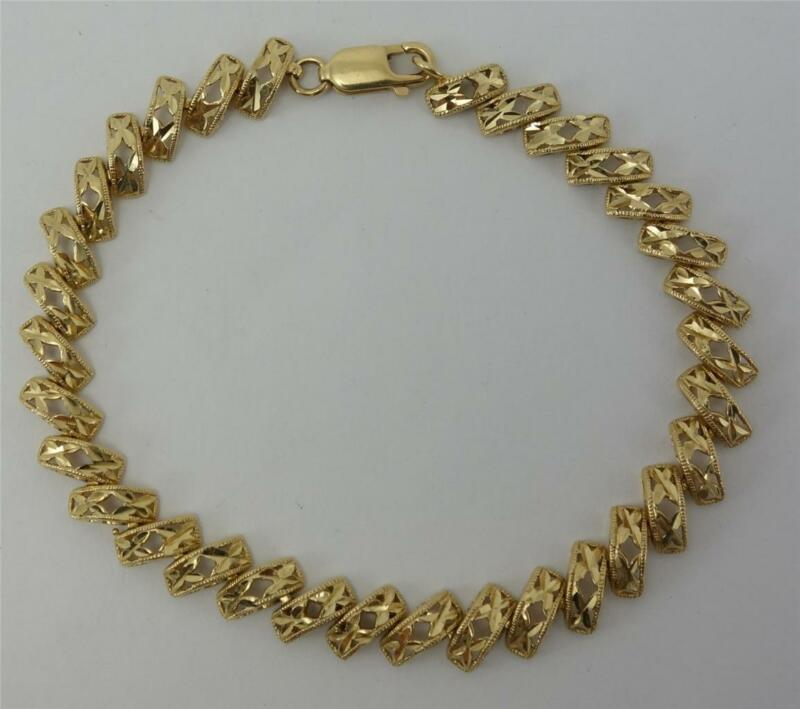 "14K yellow gold ladies 7.25"" link bracelet w/ diamond cut accents 8.3g EUC"