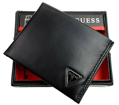 NEW GUESS MEN'S LEATHER CREDIT CARD ID WALLET PASSCASE BIFOLD BLACK 31GU22X030