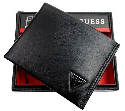 Guess Mens Leather Credit Card Id Wallet Passcase Bifold Black 31Gu22x030
