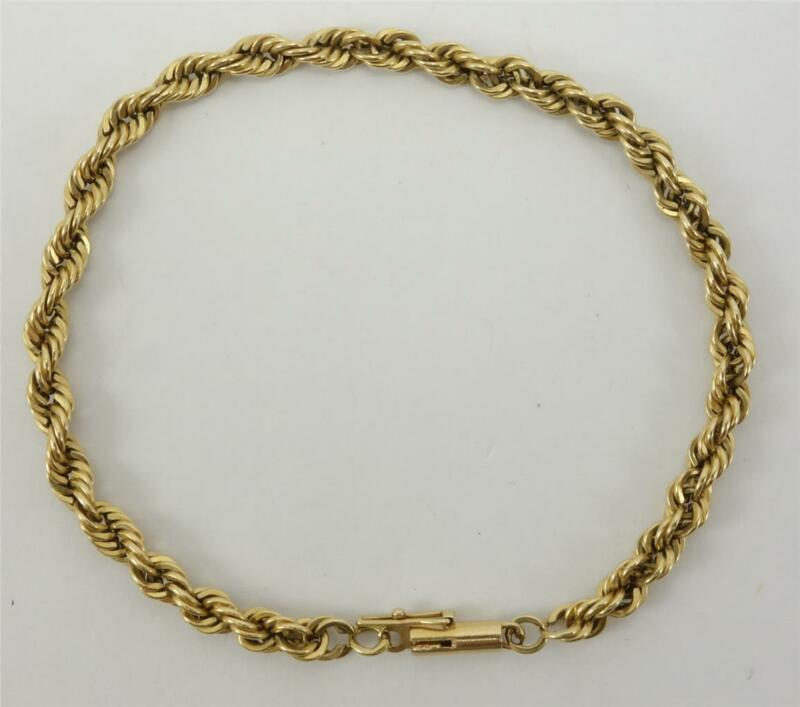 "14K yellow gold ladies chunky 4mm twisted chain 7.5"" bracelet 9.4g EUC"