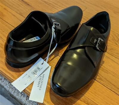 $650 Mens Versace Collection Monk Strap Loafers Dark Brown 43 US 10