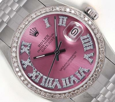 Rolex Datejust Stainless Steel 36mm-Ice Pink Roman Diamond Dial-Diamond Bezel