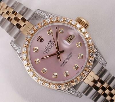 Rolex Datejust Lady 26mm 18k TT-Diamond Lug-Ice Pink Diamond Dial-Diamond Bezel