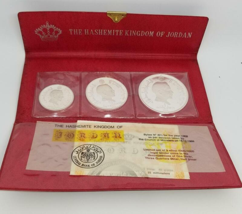 JORDAN 1969 //1389 HASHEMITE KINGDOM 3pc SILVER PROOF SET ONLY 1000 MADE ~BL68