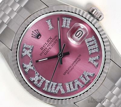 Rolex Datejust Stainless Steel 36mm-18k Fluted Bezel-Ice Pink Roman Diamond Dial