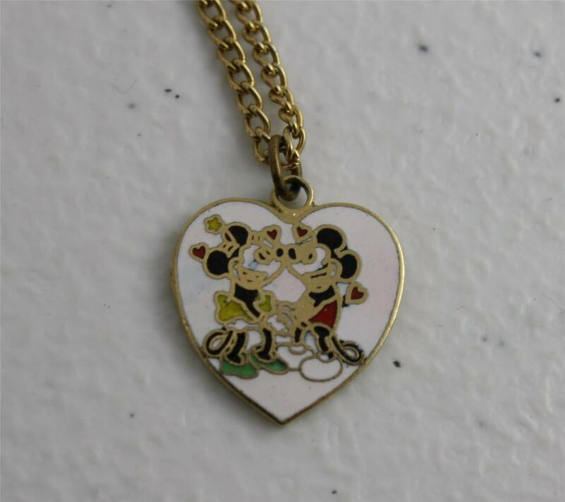VTG Mickey and Minnie Mouse Enamel Pendant Necklace Walt Disney Productions Old