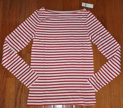 NEW NWT Womens GAP Long Sleeve Boatneck T-Shirt FAVORITE Tee Red Stripe *E2](Red Chevron)