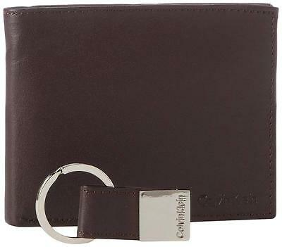New Calvin Klein Men's Leather Key Fob Brown Passcase Billfold Wallet Set 79220