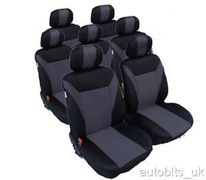 FULL SET GREY BLACK 7 SEATER FABRIC SEAT COVERS FOR VW