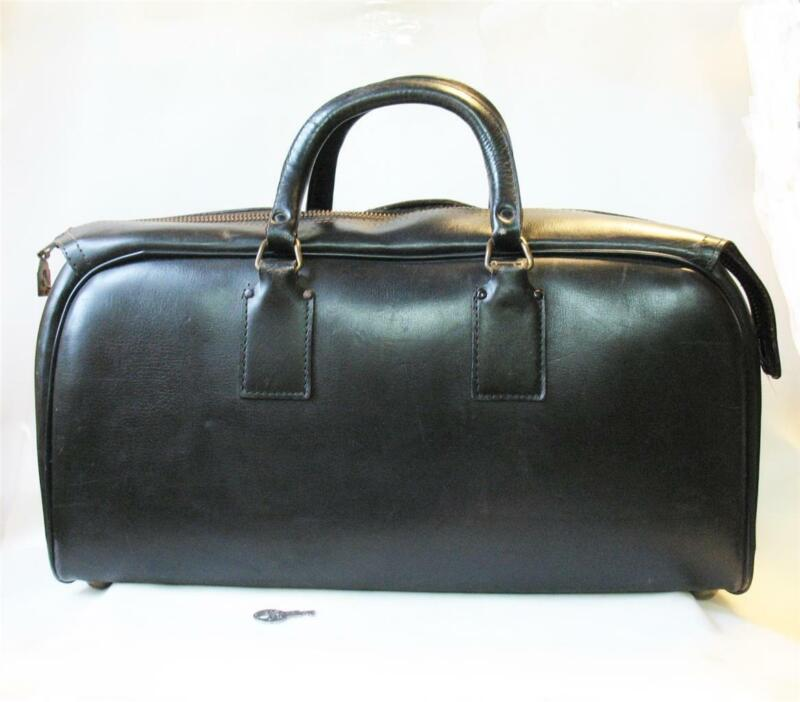 Vintage Antique Leather Doctor Medical Bag With Lock & Key Black
