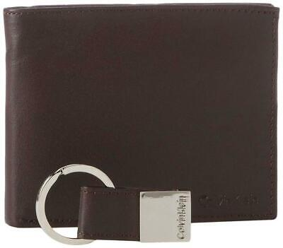 Calvin Klein Mens Leather Wallet Bifold & Key Fob Logo RFID Security 79220 Brown