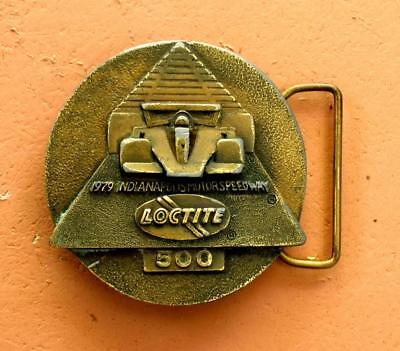 Vintage 1979 INDY 500 LOCTITE Belt Buckle Brass Plated Indiana Metal Craft