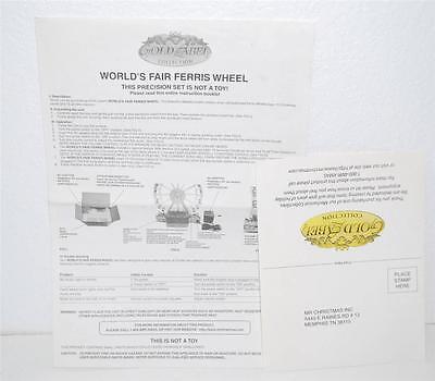 INSTRUCTIONS & WARRANTY PAPER Mr. Christmas Gold Label Ferris Wheel Worlds Fair Christmas Worlds Fair Ferris Wheel