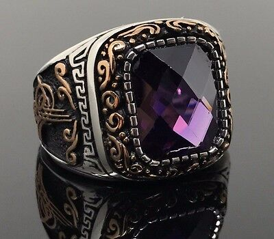 Emerald Cut Mens Rings ( 925 Silver Emerald Cut Amethyst Ottoman Men's Ring US Seller Gift for Him K44H )