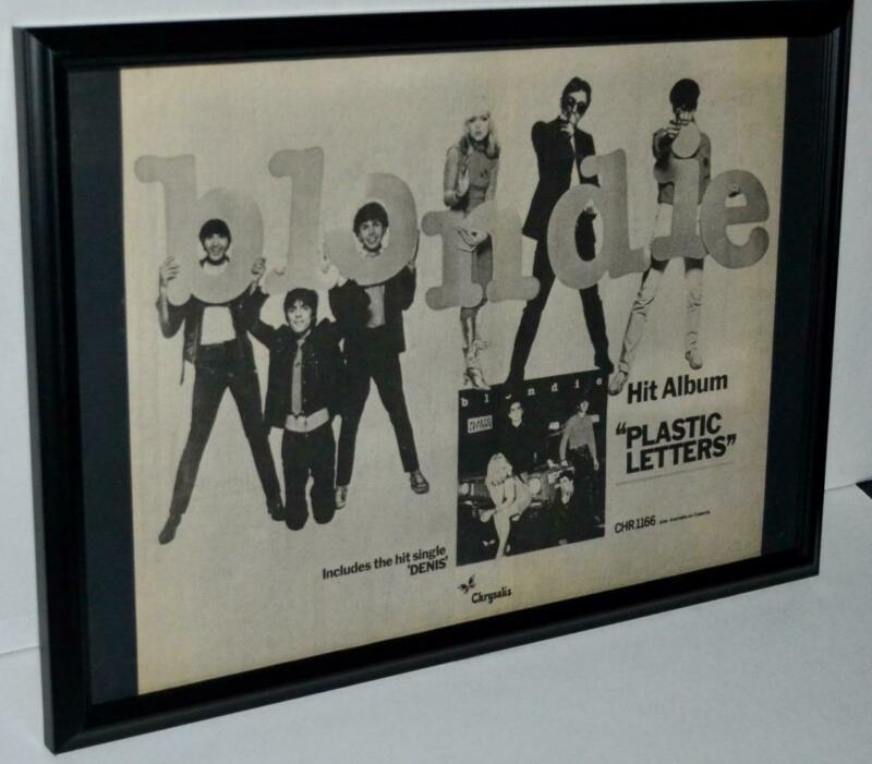 BLONDIE 1978 PLASTIC LETTERS DENIS SINGLE FRAMED PROMOTIONAL  POSTER / AD