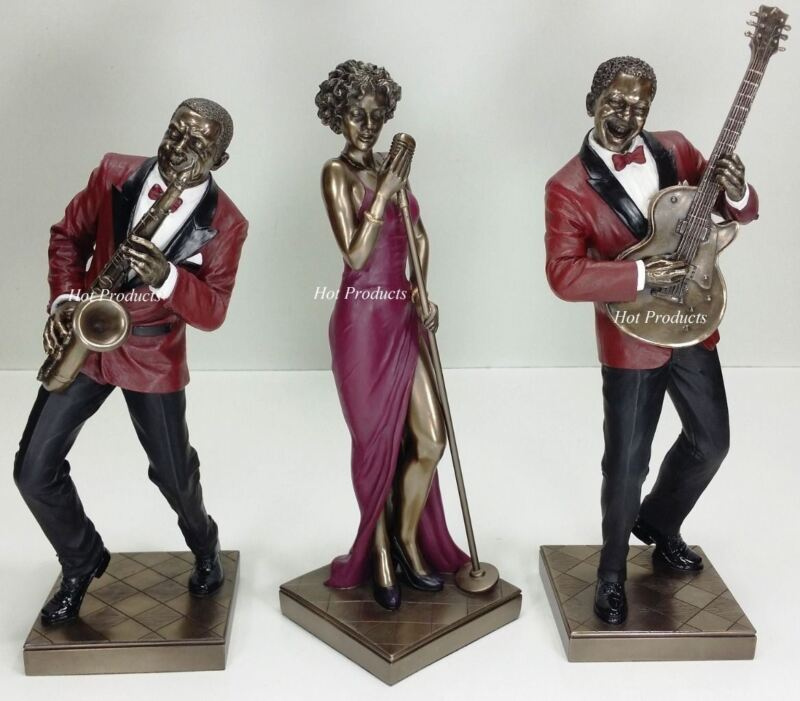 3 PC SET - JAZZ BAND COLLECTION SINGER SAXOPHONE GUITAR PLAYER Statue Sculpture