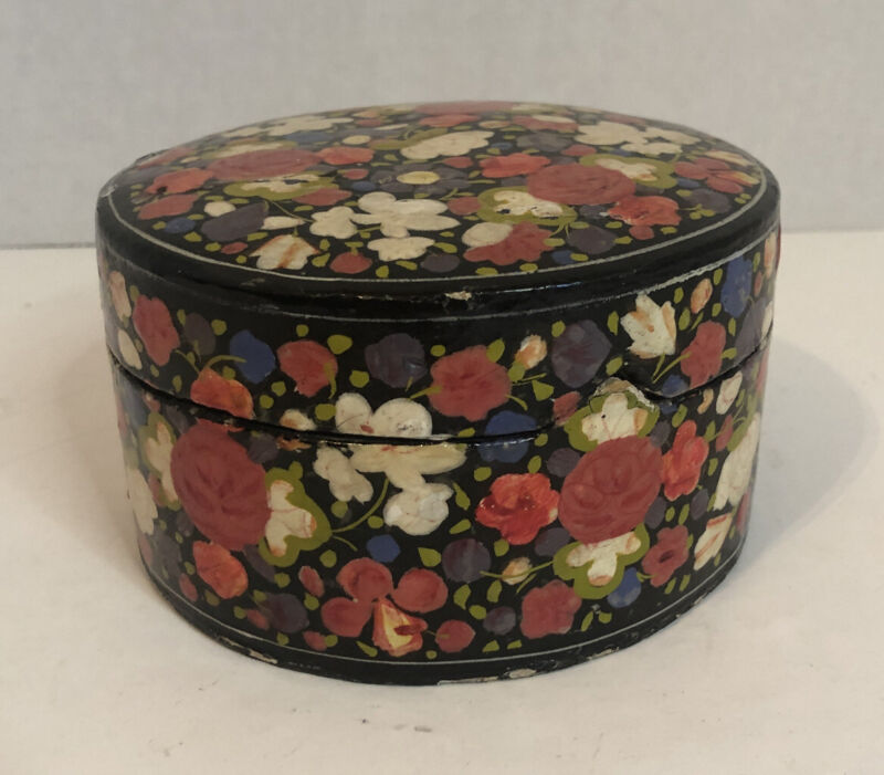 Vintage SS Sarna India Lacquer Painted Flowers Round Notched Lif Trinket Box