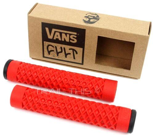 Cult X Vans Flangeless Grips w/ End Plugs Waffle Pattern BMX Bike / Scooter  RED
