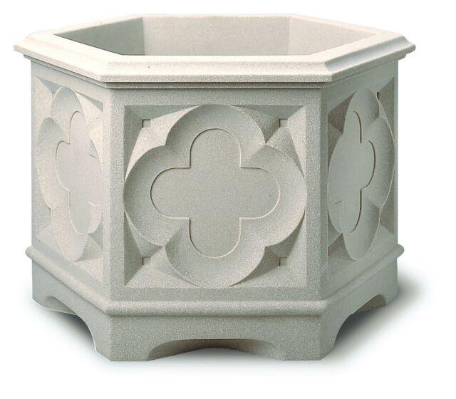 Stewart Gothic Hexagonal Planter, 39 cm - White Stone