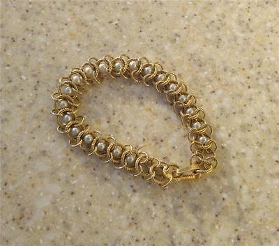 Faux Chainmail (EUC Vintage Gold plated chain link Faux Pearl bracelet chainmail Elegant)