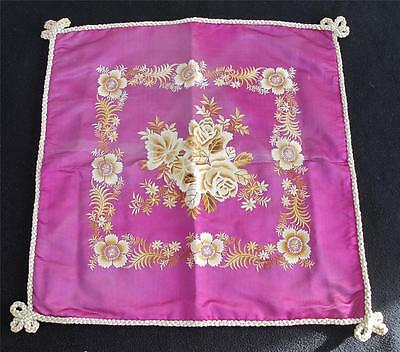 ANTIQUE VICTORIAN PURPLE FLORAL EMBROIDERED CUSHION COVER c1900