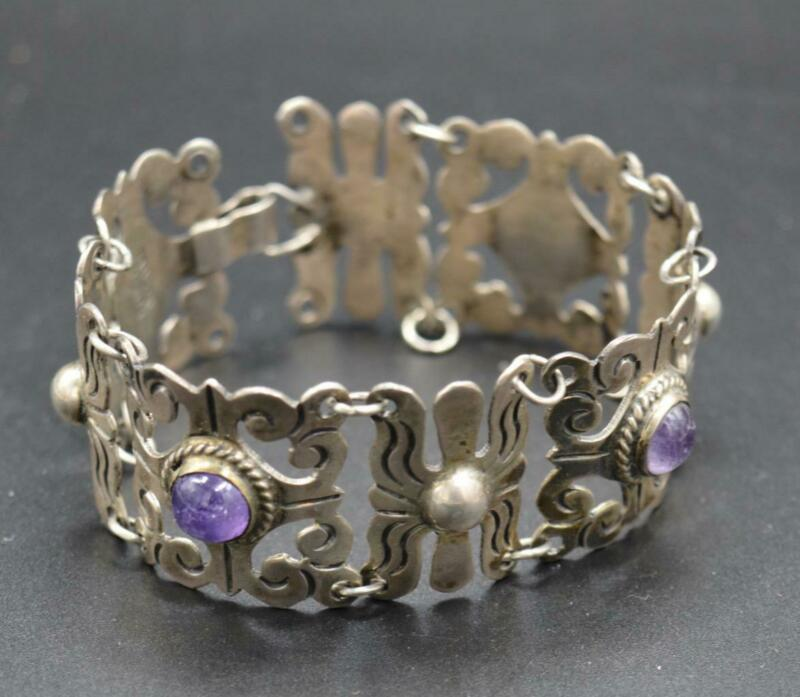 Vintage Mexican Sterling and Amethyst Cabochon Linked Bracelet