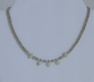 "Vintage Silver Beads, Hearts & Crystal 16"" Necklace"