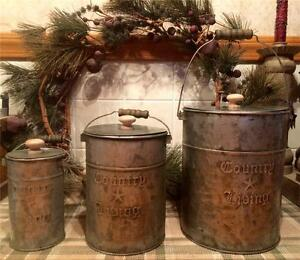 Country Primitive Set 3 COUNTRY LIVING Star Tin 3 Piece Canister Set with Lids
