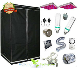 LED Panel Light CFL Lamp Hydroponic Grow Light Combo Kit Fan Indoor Grow tent