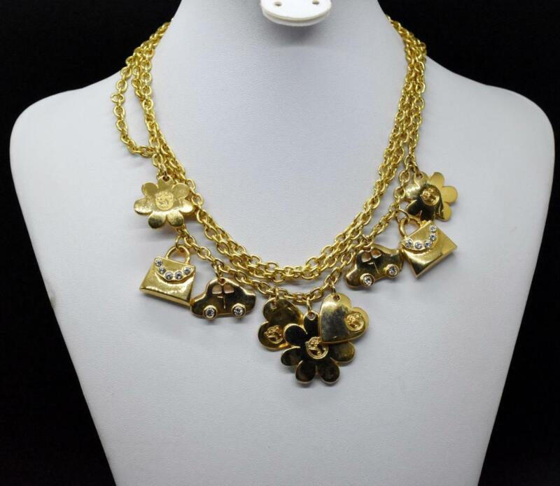 Designer Signed Yellow Gold Tone 3 Strand Crystal Jeweled Multi Charm Necklace