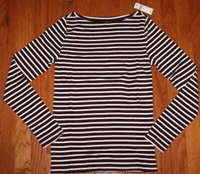 Boatneck Womens Shirt (NEW NWT Womens GAP Long Sleeve Boatneck T-Shirt FAVORITE Tee Burgundy Stripe *F4)
