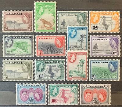 Nyasaland. Definitive Stamp Full Set. SG173/87. 1953. LM. #ETS348