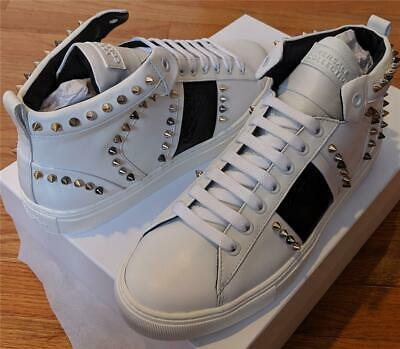 $925 Versace Collection Spiked Leather High-Top Sneakers White/Black 42 US 9