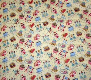 50's Retro Diner Food Ice Cream Script Yellow Background Cotton Fabric BTY OOP