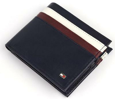 NEW TOMMY HILFIGER MEN'S LEATHER DOUBLE BILLFOLD ID WALLET NAVY 31TL130014