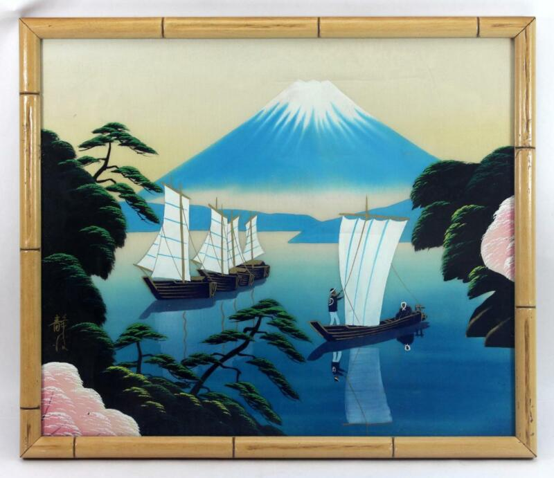 c.1950 Signed Japanese Silk Painting Mt. Fuji Glass Bamboo Framed ~ Lot #2