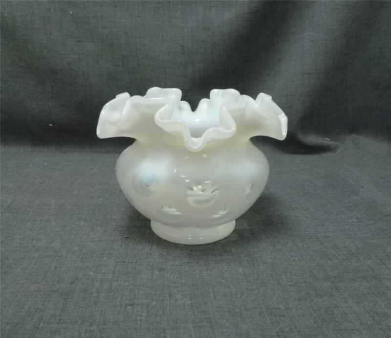 "Vtg Fenton White Coin Dot Rose Bowl Vase Opalescent Crimped Ruffle Glass 3.5"""