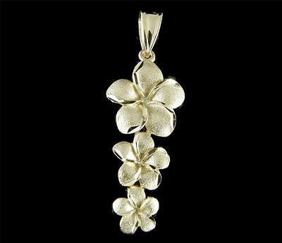 SOLID 14K YELLOW GOLD HAWAIIAN 3 PLUMERIA FLOWER DANGLING PENDANT CHARM